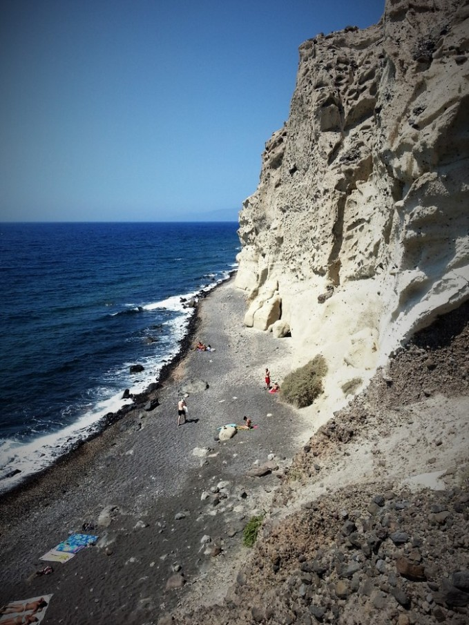 black beach in santorini