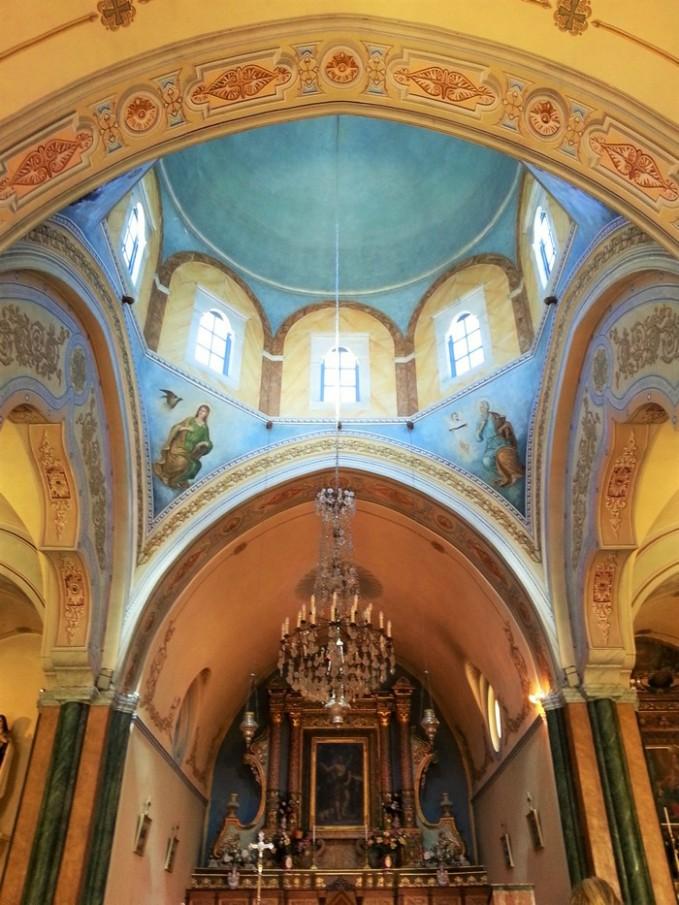 church interior in santorini