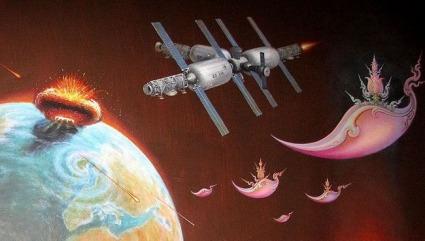 science fiction painting interior wat rong khun