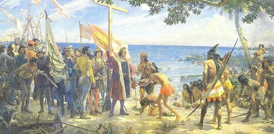 tableau christophe colomb decouvre bahamas et ses indigènes