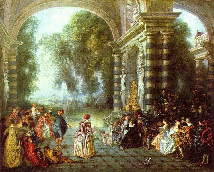 tableau antoine watteau, les plaisirs du bal pour les fêtes galantes