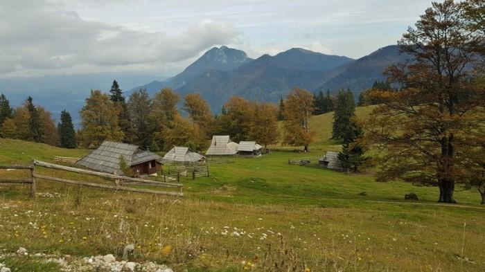 Traditional village montagne Velika Planina Slovenia