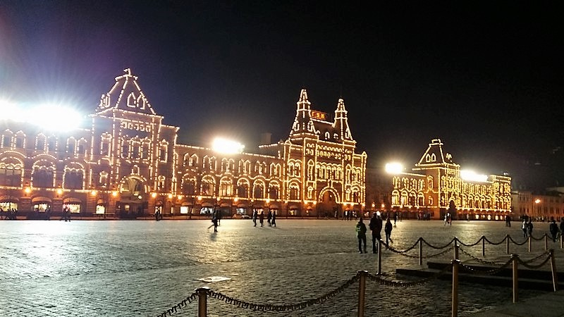 moscou place rouge nuit